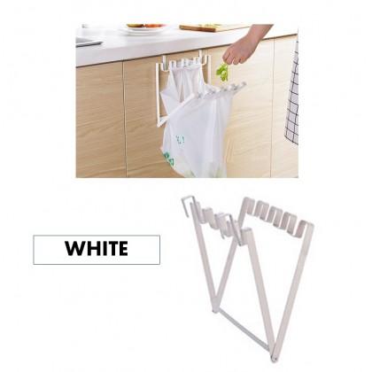 Stainless Steel Foldable Trash Rack Garbage Bag Holder Door Back Type Multi-Functional for Kitchen Hook Hang Dishcloth