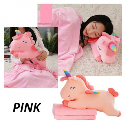 Sweet Pillow Blanket Dual-Use Creative Pillow Multifunctional Soft Horse Pillow with Blanket
