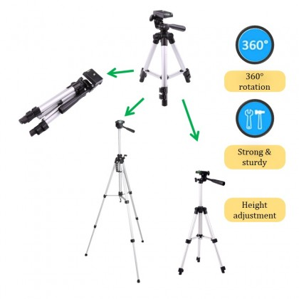 Tripod Aluminum Alloy 3-Section Camera Photography Mobile Tripod360 Degrees Rotate Manual with Water Level Balancing