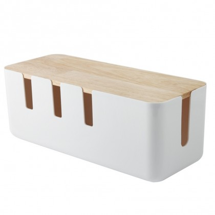 Box Wooden StylePower Cord Storage Box Hide Power Strips Loose Wires Cable Management Box