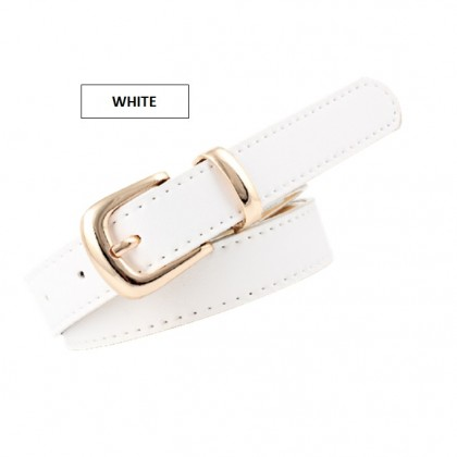 Gold Buckle Leather Solid Color Pin Buckle Puncher Simple Waist for Girls Ladies