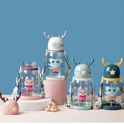 Smart Kids Water Bottle 600ml Straw Lid School Animal Kindergarten Boys and Girls Kids Design Features Flip Straw