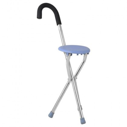 2 in 1 Foldable Lightweight Stainless Steel Walking Cane With Seat