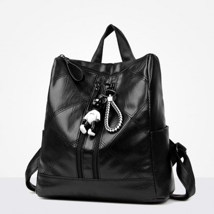 Korean Stylish 2 Zippers Quilted Design Ladies PU Leather Casual Backpack Leisure Bag