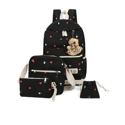 Korean Flowers Canvas 4in1 Casual Backpack Shoulder Bag School Backpack