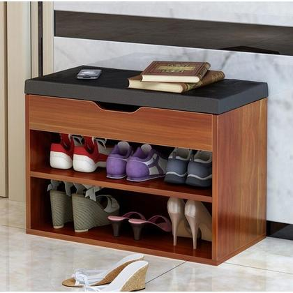 2 Layers Wooden Shoes Rack Shoes Storage Bench With Cushion (2 Sizes, 2 Colors Options)